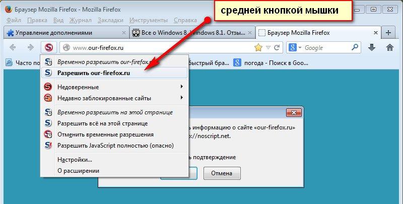 настройка NoScript, проверка безопасности