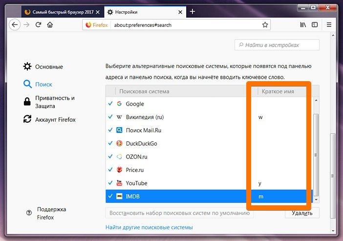 Короткие имена для поиска в Firefox
