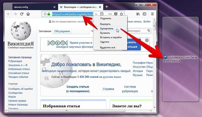 Как убрать лишнее при копировании URL в Mozilla Firefox
