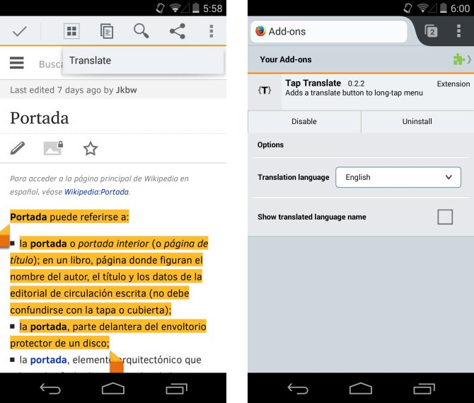 Tap Translate