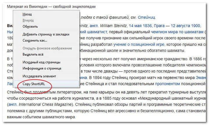 дополнения для Firefox - Copy ShortURL
