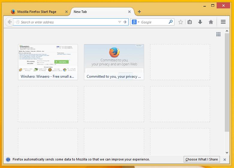 Firefox без поисковой строки на странице с закладками