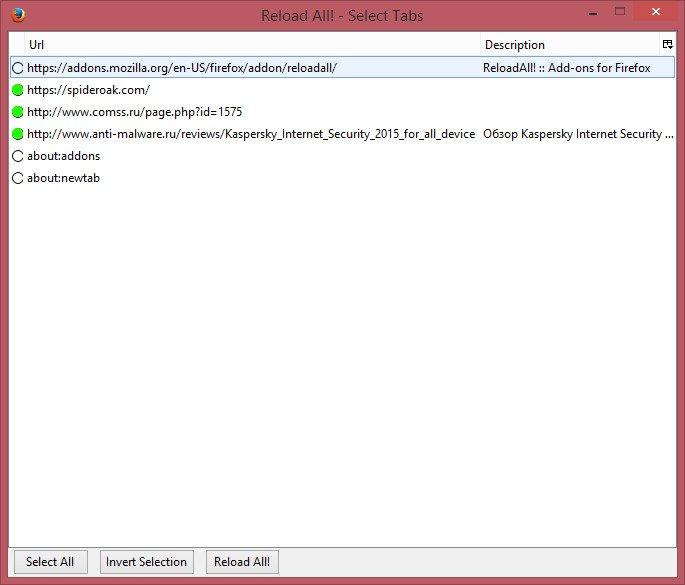 Как Firefox выборочно обновить открытые вкладки